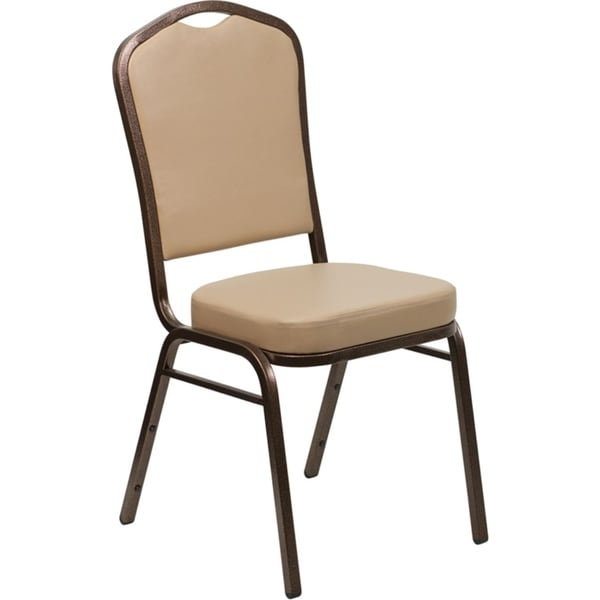 Offex Crown Back Stacking Banquet Chair with Tan Vinyl and 2.5'' Thick Seat - Copper Vein Frame