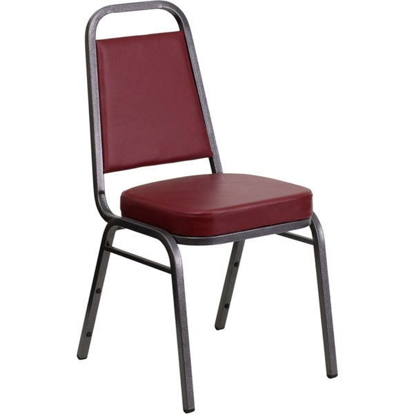 Offex Trapezoidal Back Stacking Banquet Chair in Burgundy Vinyl - Silver Vein Frame