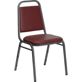 Offex Trapezoidal Back Stacking Banquet Chair with Burgundy Vinyl and 1.5'' Thick Seat - Silver Vein Frame