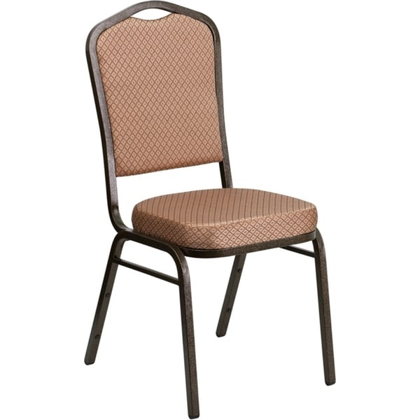Offex Crown Back Stacking Banquet Chair with Gold Diamond Patterned Fabric and 2.5'' Thick Seat - Gold Vein Frame