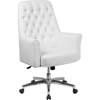 Offex Mid Back Traditional Tufted White Leather Executive Swivel Office Chair with Arms