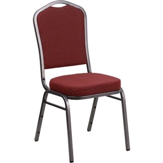 Offex Crown Back Stacking Banquet Chair with Burgundy Patterned Fabric and 2.5'' Thick Seat - Silver Vein Frame