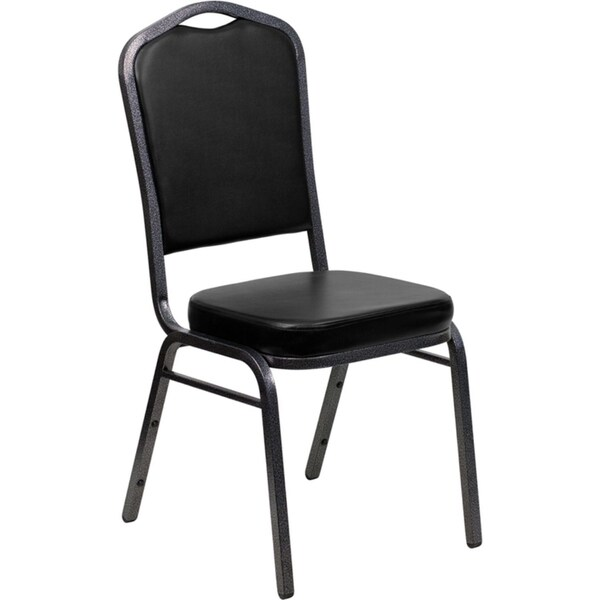 Offex Crown Back Stacking Banquet Chair with Black Vinyl and 2.5'' Thick Seat - Silver Vein Frame