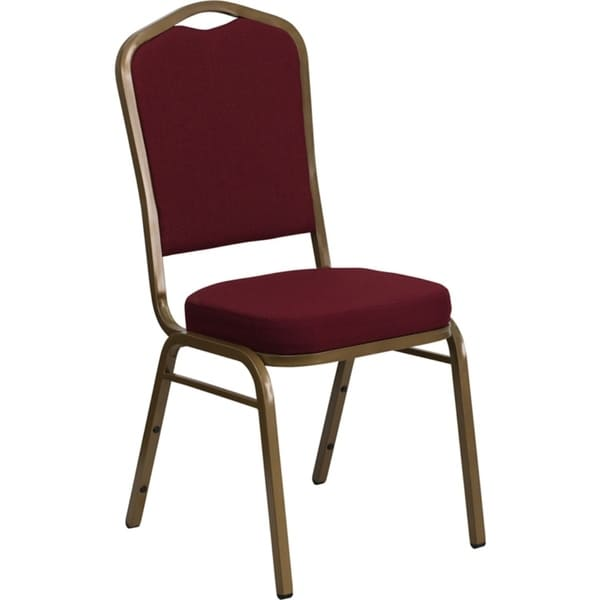 Offex Crown Back Stacking Banquet Chair with Burgundy Fabric and 2.5'' Thick Seat - Gold Frame