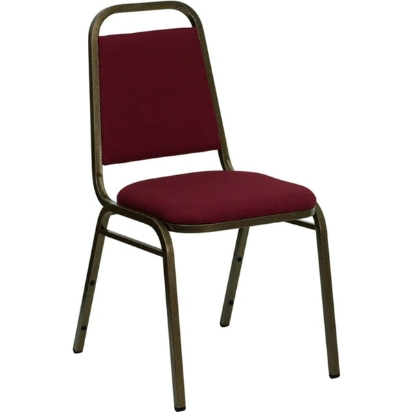 Offex Trapezoidal Back Stacking Banquet Chair with Burgundy Fabric and 1.5'' Thick Seat - Gold Vein Frame
