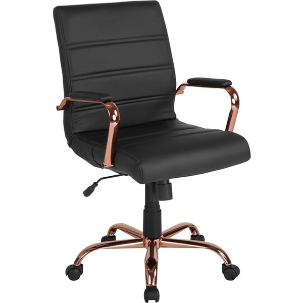 Offex Mid Back Black Leather Executive Swivel Office Chair with Rose Gold Frame and Arms