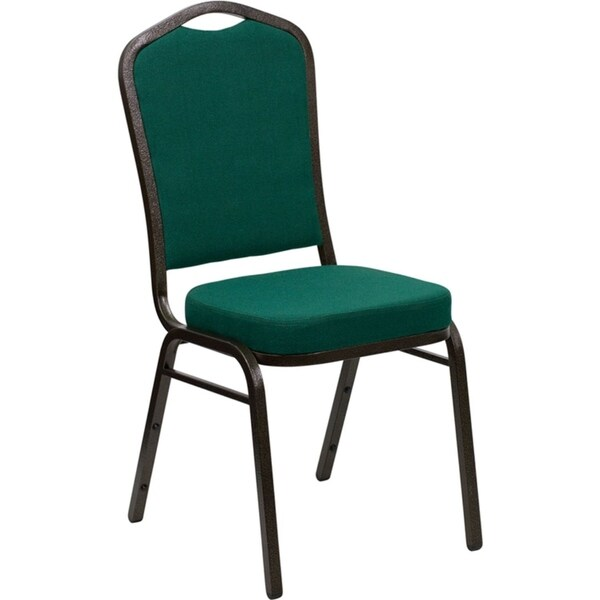 Offex Crown Back Stacking Banquet Chair with Green Fabric and 2.5'' Thick Seat - Gold Vein Frame