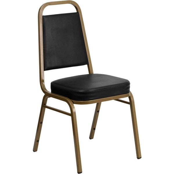 Offex Trapezoidal Back Stacking Banquet Chair with Black Vinyl and 2.5'' Thick Seat - Gold Frame