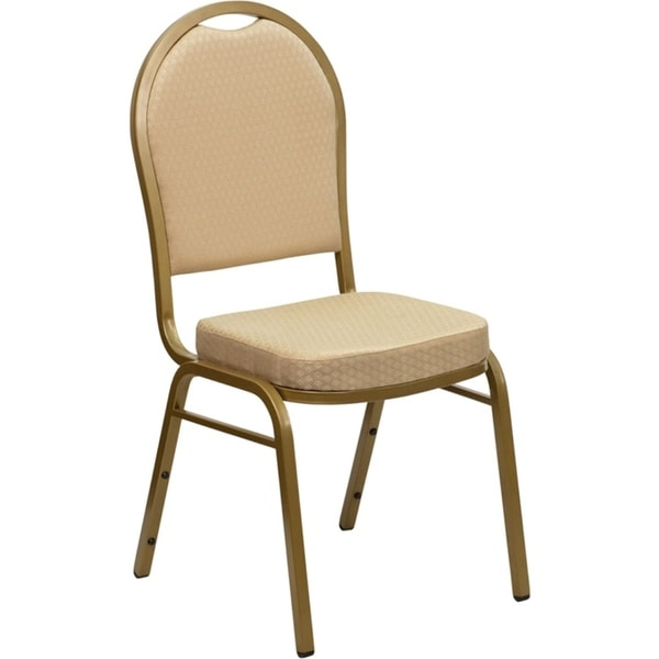 Offex Dome Back Stacking Banquet Chair with Beige Patterned Fabric and 2.5'' Thick Seat - Gold Frame