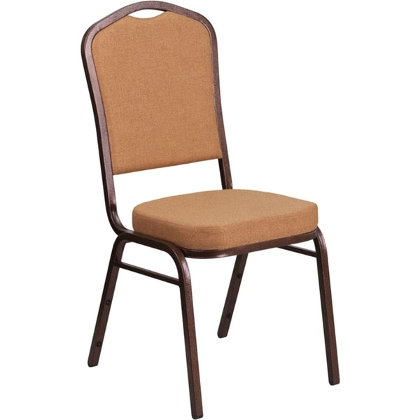 Offex Crown Back Stacking Banquet Chair with Brown Fabric and 2.5'' Thick Seat - Copper Vein Frame