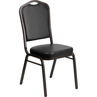 Offex Crown Back Stacking Banquet Chair with Black Vinyl and 2.5'' Thick Seat - Gold Vein Frame