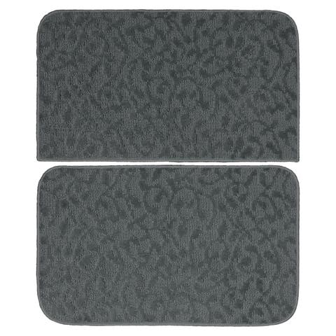"Ivy Cinder Grey 2 Piece Kitchen Accent Rug Set (18"" x 28""),(18"" x 28"") - N/A"