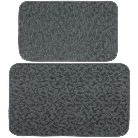 "Ivy Cinder Grey 2 Piece Kitchen Accent Rug Set (18"" x 30""),(24"" x 40"") - N/A"
