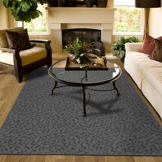 Porch & Den Helvetia Cinder Grey Ivy Pattern Area Rug - 6' x 9'