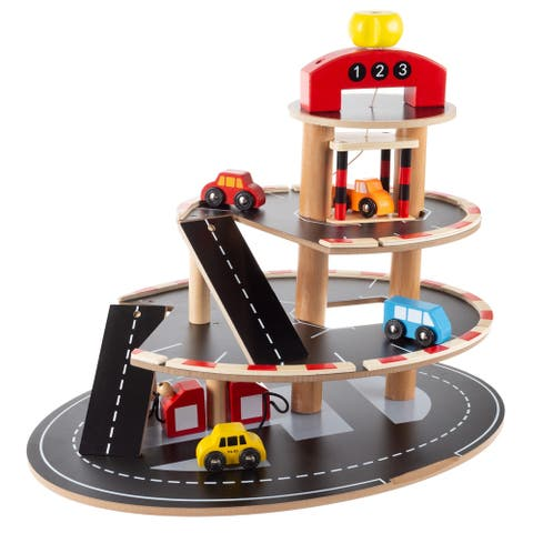 Parking Garage Toy - 3 Level Wooden Service Station Playset by Hey! Play! - 18.5 x 13.5 x 15