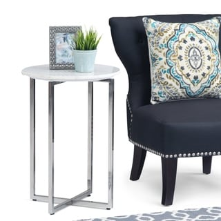 Farnell Contemporary 18 inch Wide Metal Accent Side Table with Chrome Base in White, Silver - 18 inch Wide