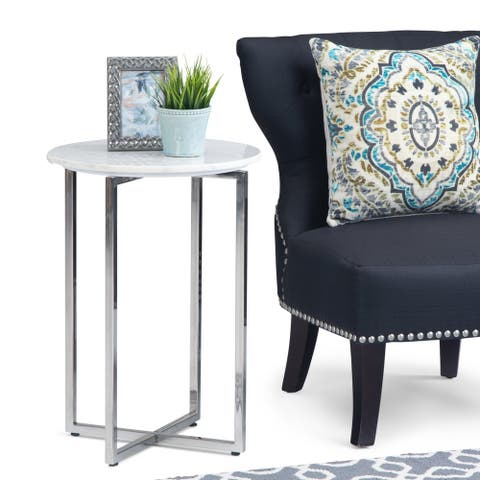 WYNDENHALL Farnell Modern 18 inch Wide Metal Accent Side Table with Chrome Base in White, Silver - 18 inch Wide