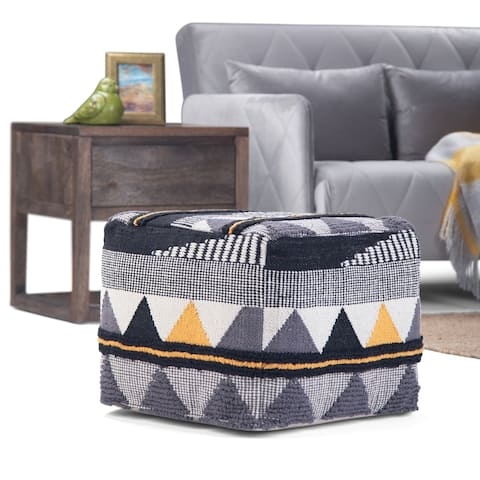 WYNDENHALL Bebe Transitional Square Pouf in Black, Grey ,White Handloom Woven Pattern (As Is Item)