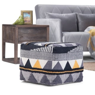 The Curated Nomad Holladay Square Pouf in Black/Grey Handloom Woven Pattern