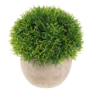 """Artificial Benn Grass Plant - 7"""" Round Potted Ornamental Greenery for Indoor Use, Realistic PE Plastic by Pure Garden"""