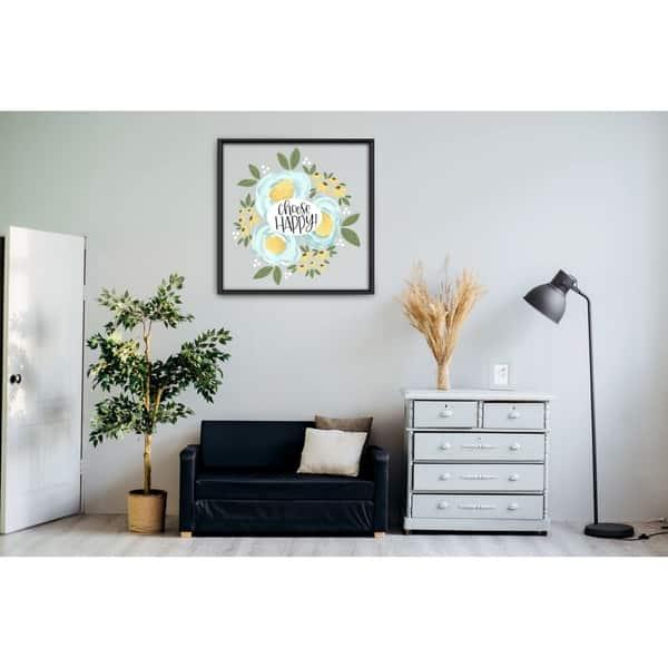 Shop Star Home Decor Choose Happy Art By Elyse Burns 12x12 Frame Canvas Print Overstock 28987637