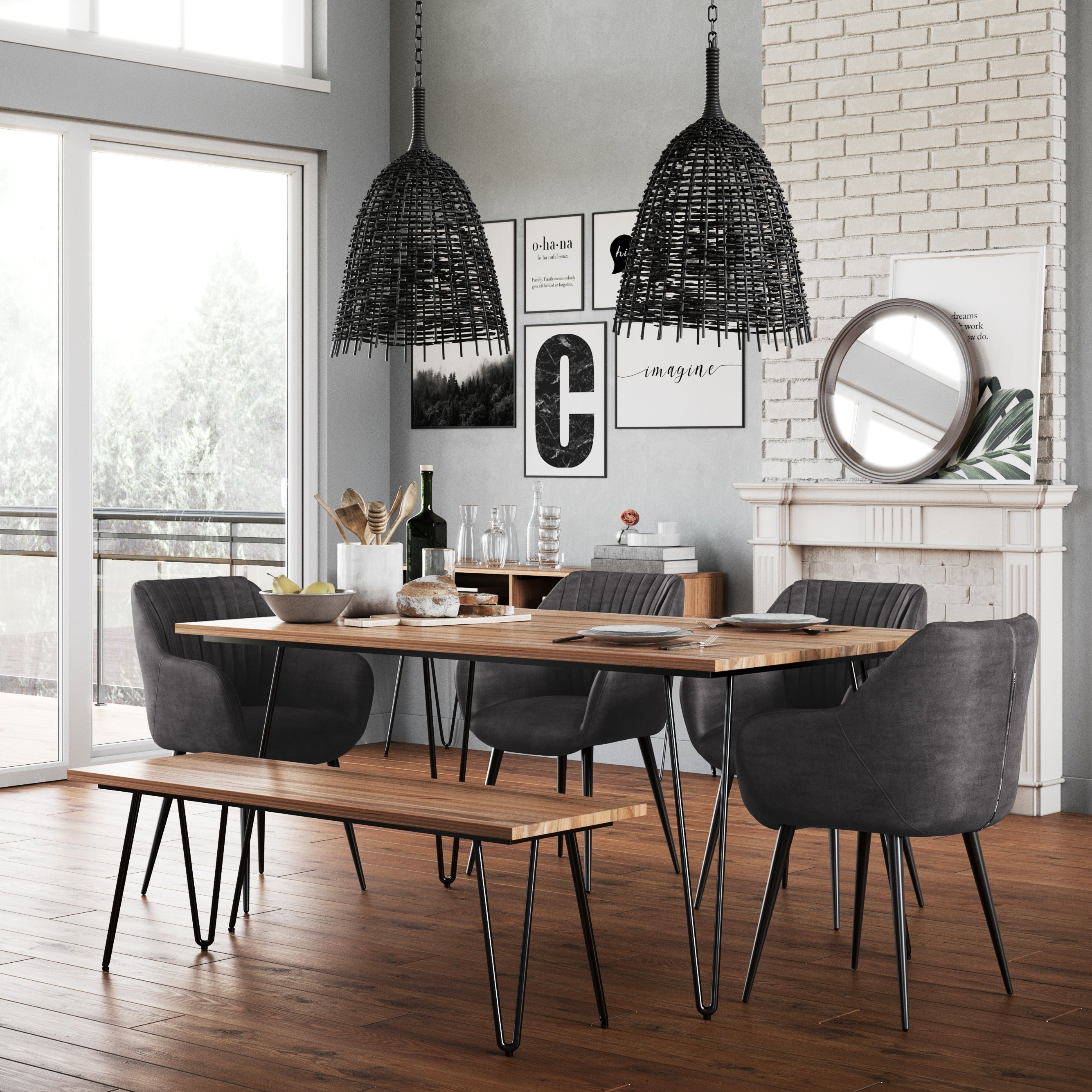 Cadence Mid Century Modern 6 Pc Dining Set With Bench 4 Upholstered Chairs In Faux Leather