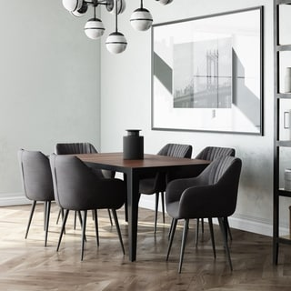 Cadence Mid Century Modern 7 Pc Dining Set with 6 Upholstered Dining Chairs in Faux Leather