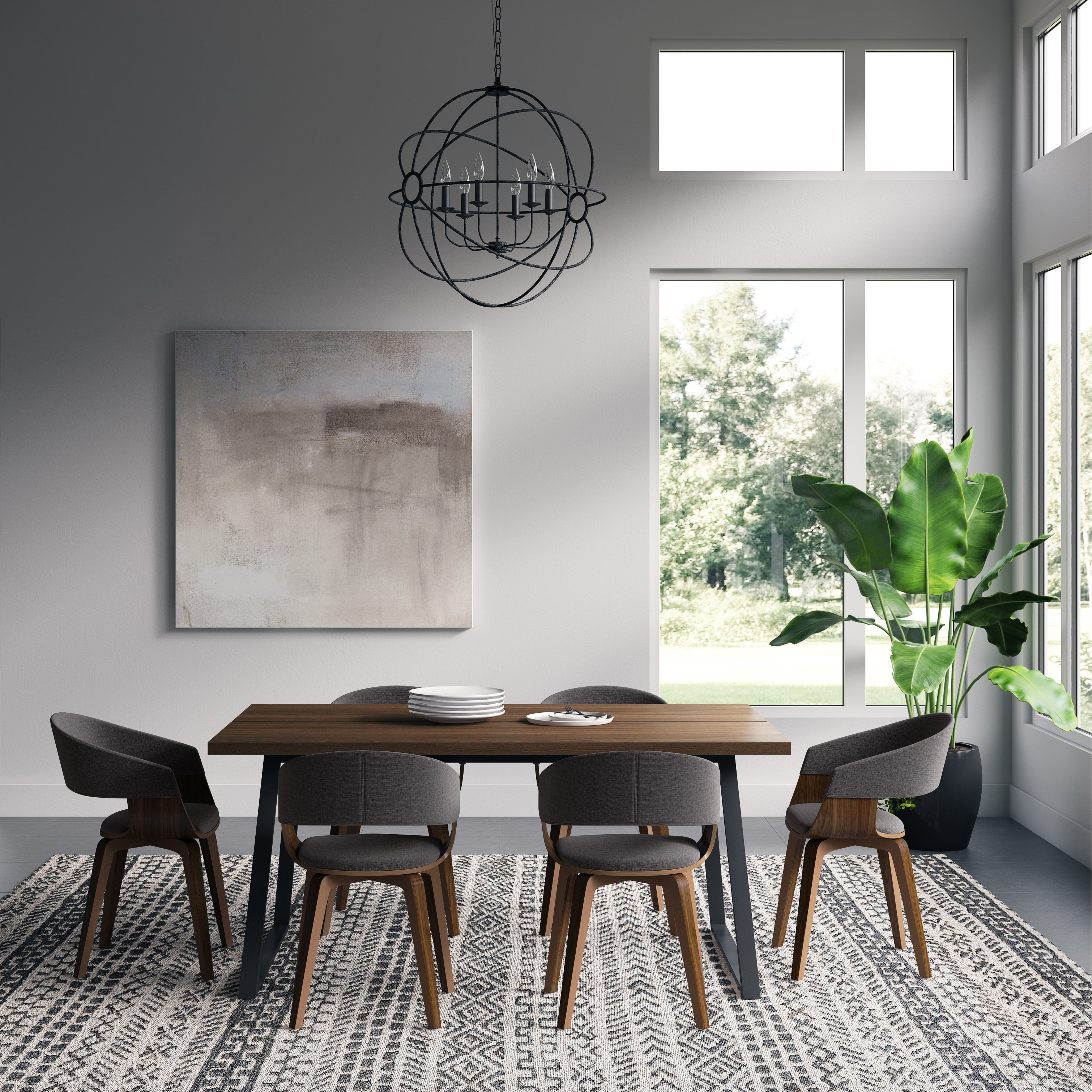 Wyndenhall Calinda Mid Century Modern Ii 7 Pc Dining Set With 6 Upholstered Bentwood Dining Chairs And 66 Inch Wide Table Overstock 28987703