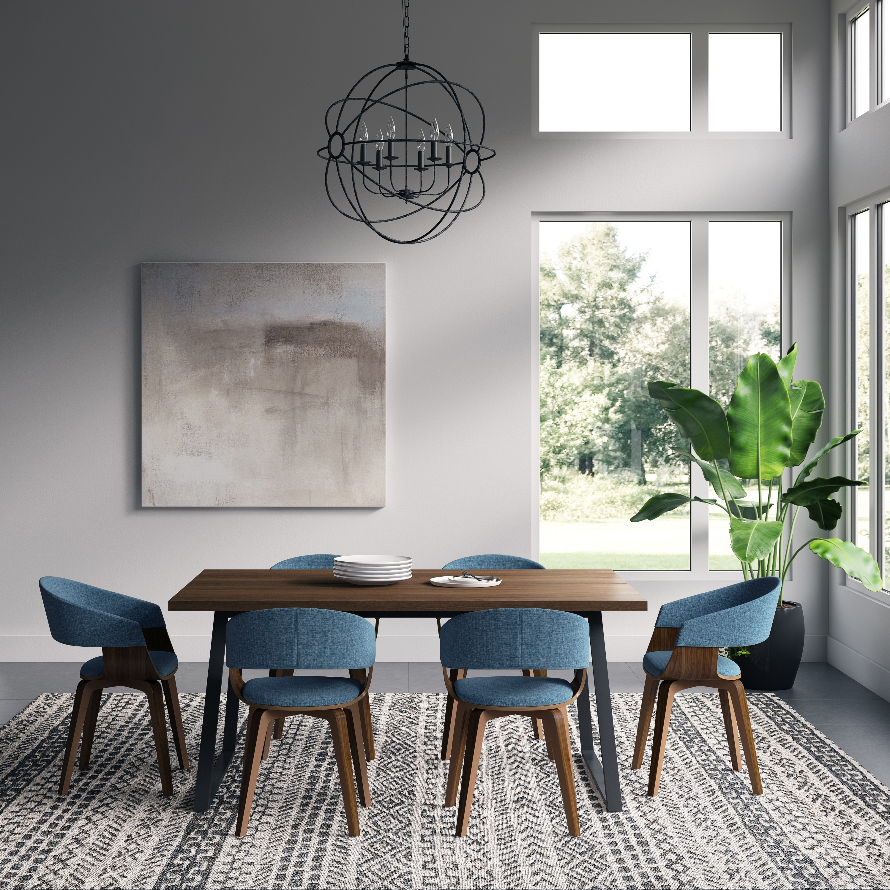 Image of: Shop Black Friday Deals On Wyndenhall Calinda Mid Century Modern Ii 7 Pc Dining Set With 6 Upholstered Bentwood Dining Chairs And 66 Inch Wide Table Overstock 28987703