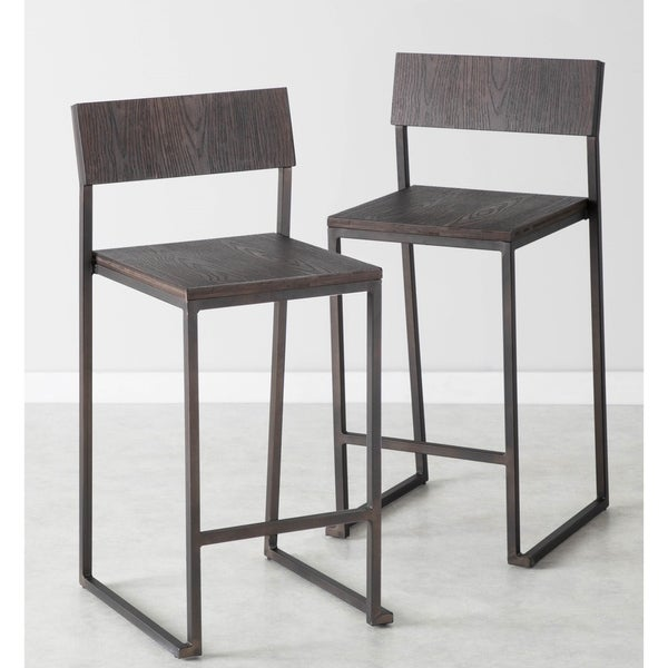 Industrial Fuji Counter Stool in Antique Metal & Espresso Wood (Set of 2) - N/A