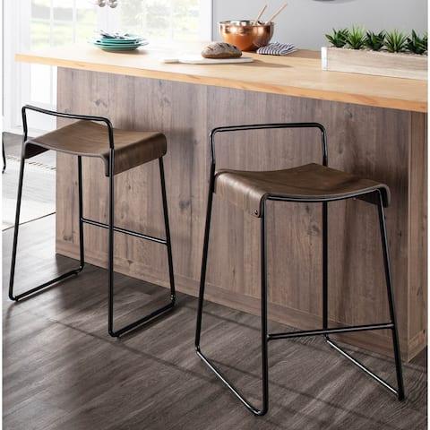 Dali Industrial Black Metal & Espresso Wood Counter Stool (Set of 2) - N/A
