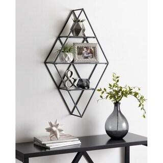 Kate and Laurel Kailynn Geometric Metal and Glass Wall Shelf - 18.5x32