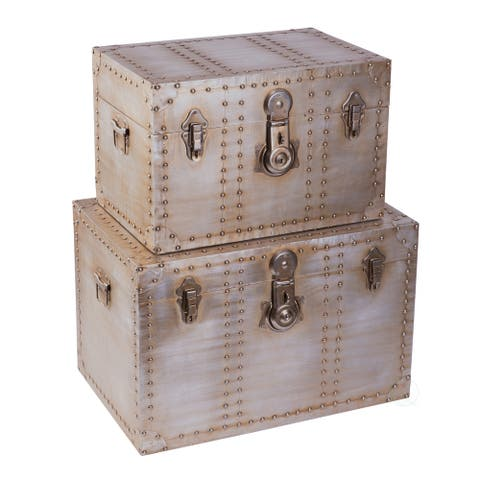 Industrial Wooden Aluminum Storage Trunk with Lockable Latches