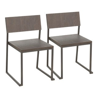 Industrial Fuji Dining Chair in Antique Metal & Espresso Wood (Set of 2) - N/A