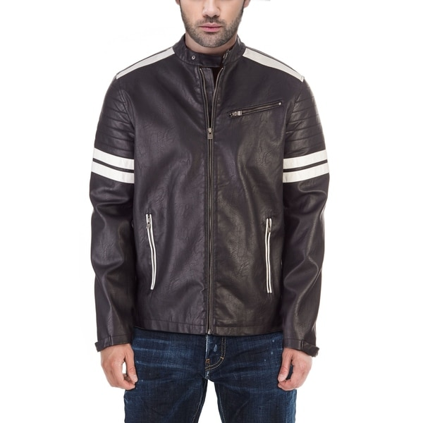 X RAY Mens PU Leather Motorcycle Jacket with Contrast Striping