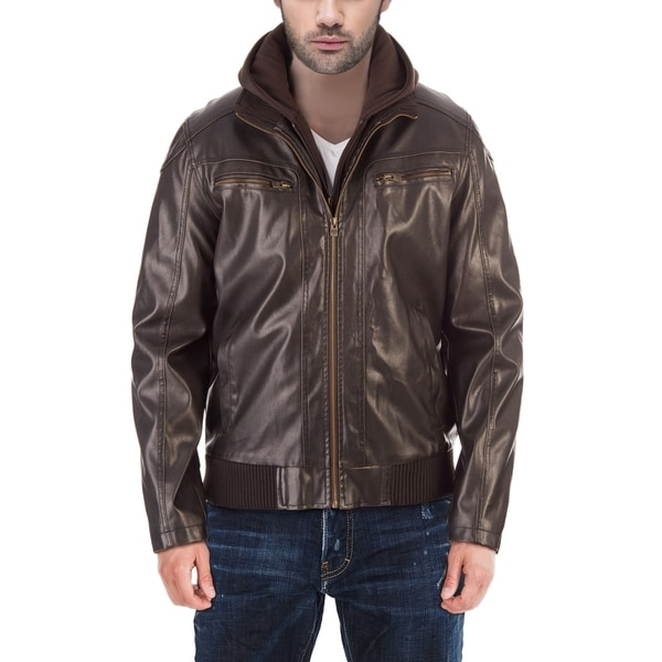 XRAY Mens Faux Leather Bomber Jacket With Removable Hoodie