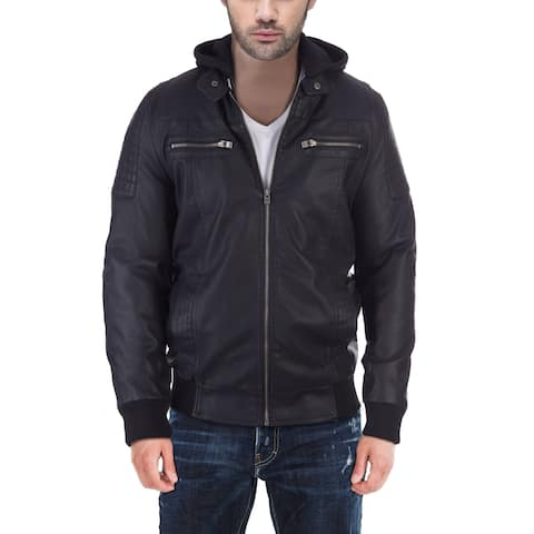 XRAY Mens PU Leather Bomber Jacket With Removable Hoodie