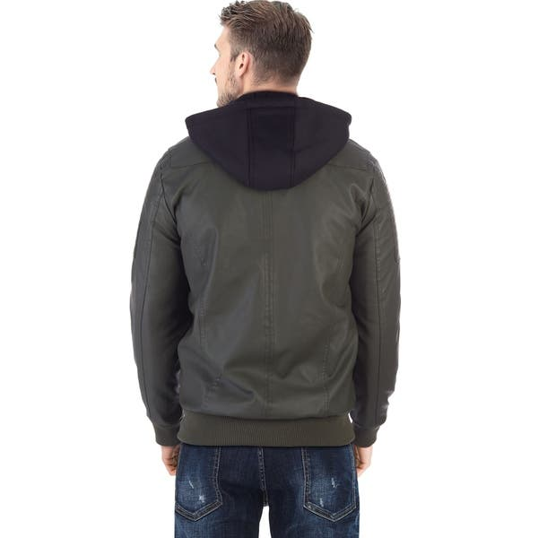 Shop Xray Mens Pu Leather Bomber Jacket With Removable