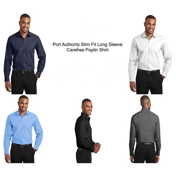 Port Authority Slim Fit Long Sleeve Carefree Poplin Shirt