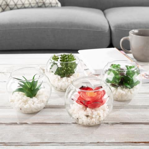 Faux Succulents  Set of 4 Assorted Lifelike Plastic Greenery Arrangements in Glass Vases by Pure Garden - 3.5 x 3.5 x 4