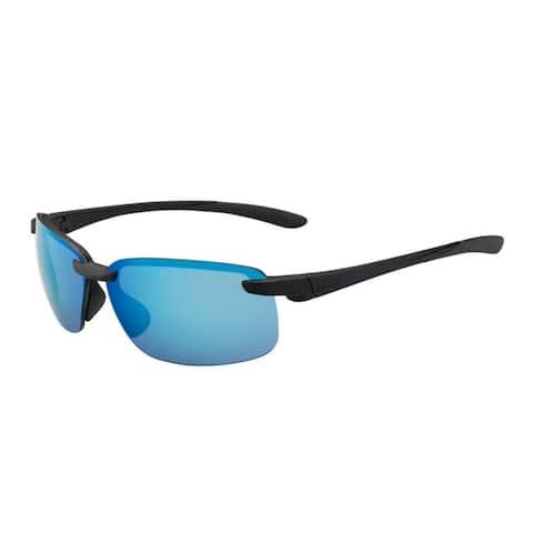 Bolle Flyair 64mm Wrap-Around HD Polarized Blue Sunglasses (Black) - Medium