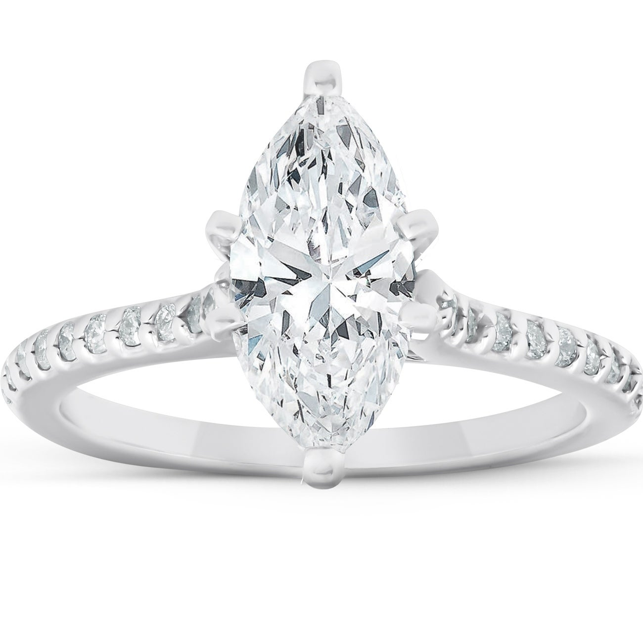 Shop 2 Ct Marquise Diamond Engagement Ring 14k White Gold Size 6 5 On Sale Overstock 28988138