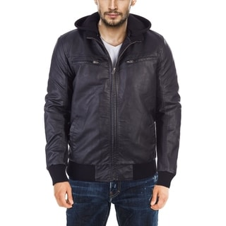 X RAY Mens Faux Leather Bomber Jacket With Removable Hood