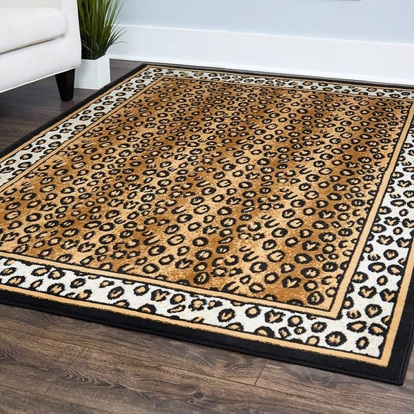 Cheetah Animal Print Bordered Area Rug