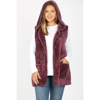 Link to JED Women's Plus Size Plush Faux Fur Hoodie Vest with Pockets Similar Items in Women's Outerwear