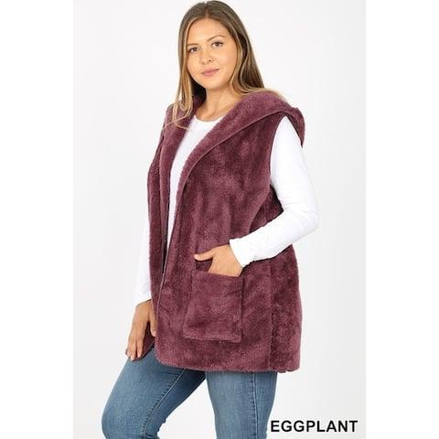 JED Women's Plus Size Plush Faux Fur Hoodie Vest with Pockets