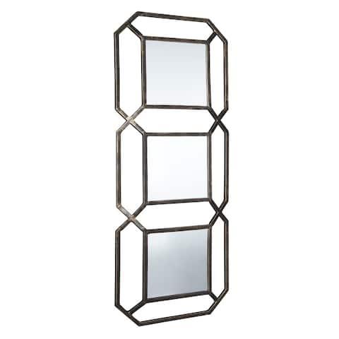 """Silver Orchid Burkett Geometric Accent Mirror - 15"""" W x 1.5"""" D x 39"""" H"""