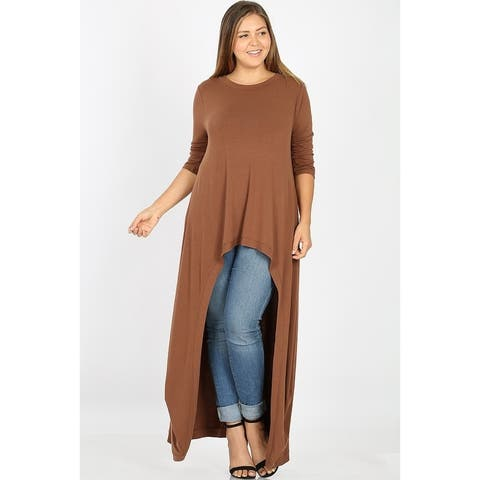 JED Women's Plus Size Asymmetrical Maxi Top