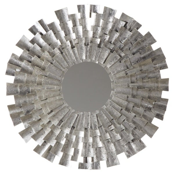 Silver Orchid Bush Round Sunburst Accent Mirror
