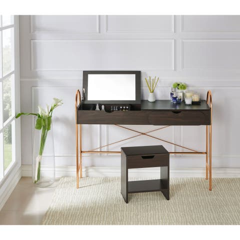 Melisse Glam Storage Vanity Table with Lift-top Mirror
